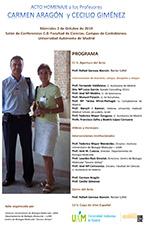Acto Homenaje a los profesores Carmen Aragón y Cecilio Giménez